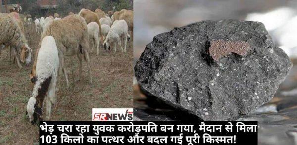 भेड़ चरा रहा युवक करोड़पति बन गया, मैदान से मिला 103 किलो का पत्थर और बदल गई पूरी किस्मत!