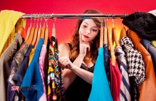 Girl during dress choosing