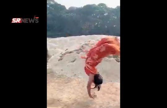 backflip in saree
