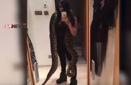 girl with a giant python
