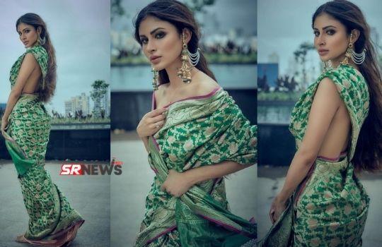 Mouni Roy saree image without blause